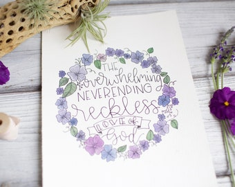 """Reckless Love of God watercolor flower wreath 
