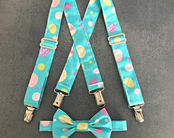 Easter Suspenders - Easter Bow Tie -Suspender and Bow Tie Set -Baby's 1st Easter -Easter Photo Prop-Baby Easter Outfit -Easter Church outfit
