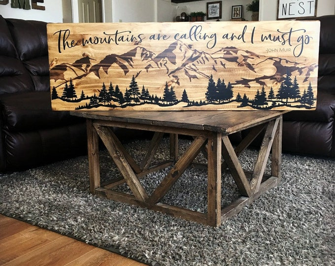 The Mountains Are Calling and I Must Go, Mountain Landscape, Wood Mountain Scene, Over the Bed Art, Retirement Gift, Cabin Decor