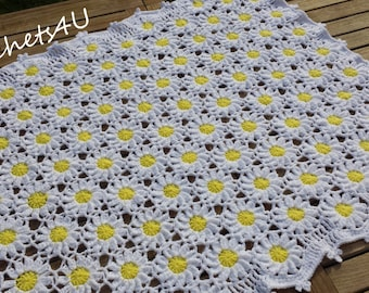 crochet pattern, flower afghan, crochet blanket pattern, baby blanket pattern, daisy afghan, flower blanket, throw, crochet daisy