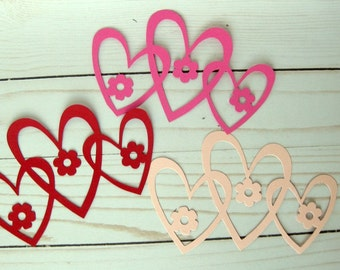 Valentine Die Cuts, Intertwined Heart Die Cuts, Sizzix Die Cut Large Heart Valentine Hearts Scrapbooking and Cardmaking Set of 3 Hearts