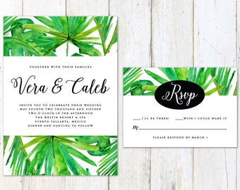 Tropical Wedding Invitation, Palm Tree Wedding Invitation, Destination Beach Wedding