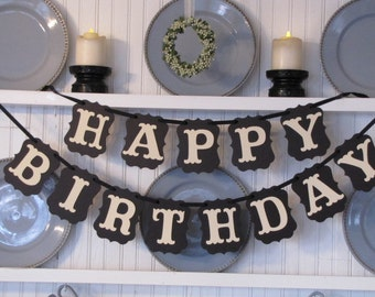 HAPPY BIRTHDAY  Banner, Birthday Decoration, Happy Birthday Sign, 50th Birthday, Classic Birthday Decor