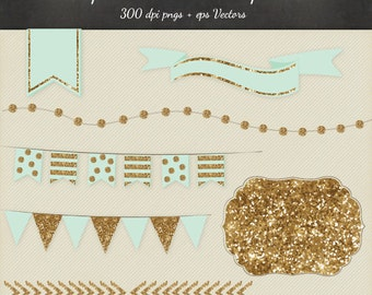 Gold Glitter Clipart Vector 8 Piece Pack - 6 Designs PNG Files & EPS Vectors - Digital Scrapbook Bunting Garland Flags Ribbon Frame Chevron