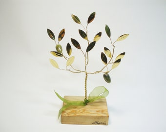 Handmade gift brass olive tree in wood