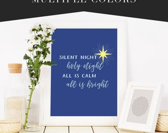 Silent Night, Holy Night, All Is Calm, All Is Bright Fine Art Wall Print Sign