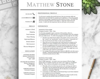 Professional Resume Template For Word U0026 Pages | One, Two And Three Page Resume  Template