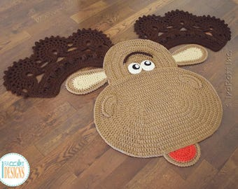 CROCHET PATTERN Eh Moose Animal Rug PDF Crochet Pattern with Instant Download