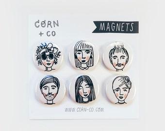 illustrated MAGNET SET I — faces illustration fridge magnets, character design