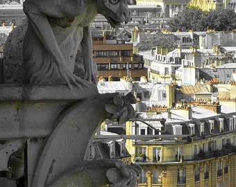 French Decor, Paris Photography, Gargoyle Print, Paris France, pastel yellow jaune, gray, monochrome, Fine Art Print 5x7, Parisian wall art