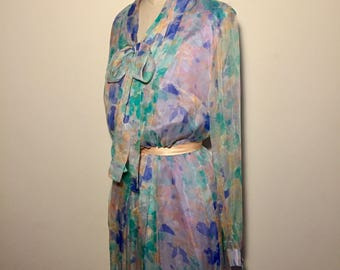 Vintage 70s Watercolour Chiffon Dress