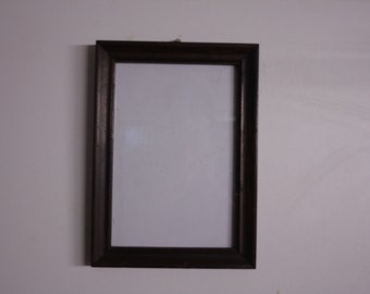 Viejo marco rectangular de madera de época pequeñas antigüedades