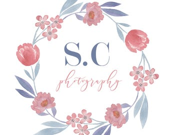Floral Wreath Logo Watermark - Made to Order
