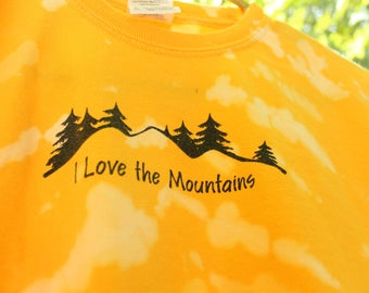 Kids L Mountains T Shirt, Youth Long Sleeve Tie Dye T Shirt, Yellow Tie Dye Kids Shirt, Youth Large Tie Dye Shirt, Long Sleeve Tie dye shirt