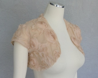 Bridal Wedding Bolero Shrug David Tutera Chiffon Fabric Ribbon Rose in Champagne Color Size Small Ready to Ship
