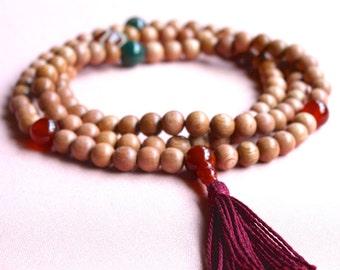 Rosewood Mala Beads with Moss Agate Carnelian & Tibetan Dzi - Rosewood Buddhist Rosary Necklace