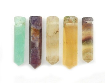 Rainbow Fluorite Pencil Point Bead -  Fluorite Point Top Side Drilled Bead - (RK45B5)