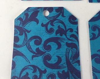 Royal Blue Florish Tags - set of 9
