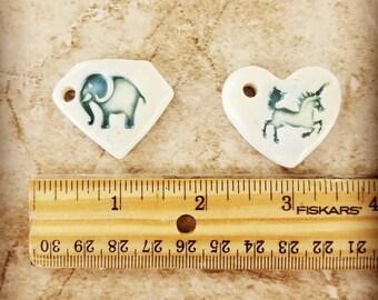 Porcelain Pendant,  Porcelain Unicorn Pendant, Porcelain Elephant Pendant, handmade pottery pendant