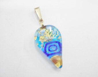 Lampwork Glass, Glass Pendant, Lampwork Pendant, Vintage Sterling Silver Blue Gold Green Colorful Lampwork Glass Pendant #1713
