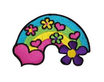 Hippie Heart & Daisy Rainbow Iron-On Patch Groovy Girls Craft Accessory Applique