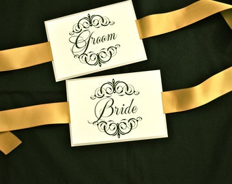 Bride and groom chair signs with crystals
