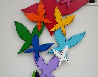 Cluster of 3D Rainbow Butterflies door hang