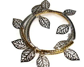 Gold Silver cuff Leaf cuff bracelet Shiny bracelet swish bracelet cuff double wrap bracelet metallic leaf wrap cuff gift for her unique cuff