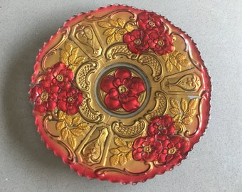 Roses! Red and Gold Goofus Glass Plate, Carnival Prize or Premium Giveaway, Late 19th - Early 20th Century Styling!