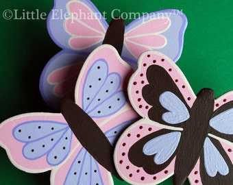 set/3 Custom Emily Butterfly Quilt Clips - coordinates with NoJo bedding sets
