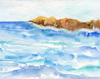Aruba watercolor painting original 4 x 6 watercolor painting of rocky Aruba coast seascape, Aruba beach, original ocean art Caribbean