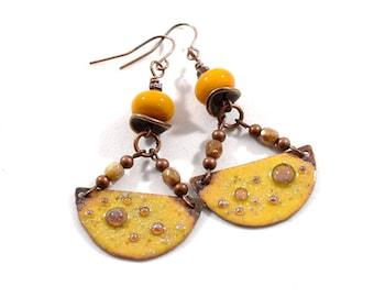 Handmade Earrings, Enameled Earrings, Rustic Yellow Earrings, Boho Earrings, Antique Copper Earrings, Half Circle, Artisan Earrings,  AE179