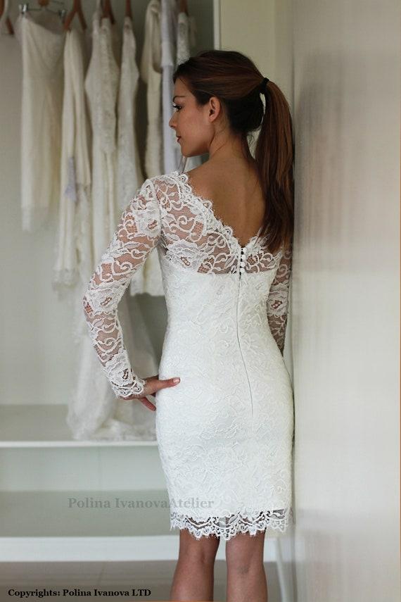 Vestido de novia corto con mangas vestido de recepción boda