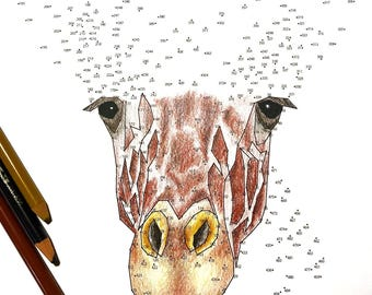 Giraffe - Extreme Dot to Dot - PDF Activity and Coloring Page