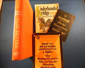 Vintage Bridge Card Games Reference Books Total of Four