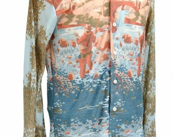 Vintage 70s Nylon Disco Shirt • NIK NIK stlye • Playboy Shirt • Fly Fishing Scene