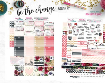 Be the Change | Weekly Printable | Planner Stickers | for use with Mini Happy Planner | Printable Planner Stickers | Cut Line Files