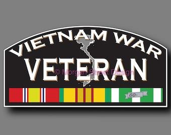 Vietnam War Combat Veteran Die Cut Vinyl Decal Sticker