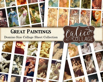 Printable, Digital, Domino Collage Sheet, Great Paintings, Vintage Art, 1x2 Inch, Domino Images, 1x2 Collage Sheet, Mucha, Instant Download