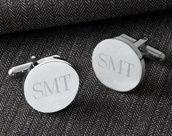 Personalized Round Cufflinks - Groomsmen Gifts - Engraved Cufflinks - Gifts for Him - Personalized Cufflinks - Gifts for men - GC1301