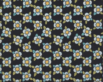 In The Beginning Fabrics Bohemia Dogwood Bloom in Black -  Half Yard