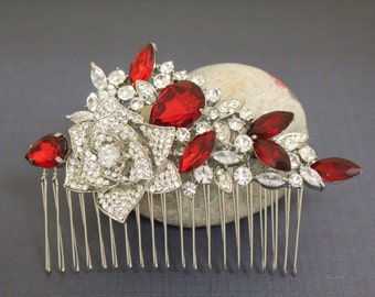 Red bridal jewelry,red bridal hair accessories,red bridal headpiece,red bridal shoes,ruby,red wedding jewelry,red bridal sash,red hair comb