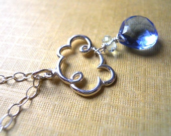 Cloud Charm Necklace, Cloud Jewelry, Christmas Gift Idea, Raindrop Jewelry, Periwinkle Rain Cloud, Sterling Silver cloud, Weather jewelry,