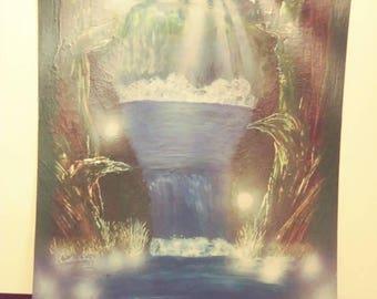 Spray Paint Art - Lost Woods Waterfall (Nature/Landscape Art)