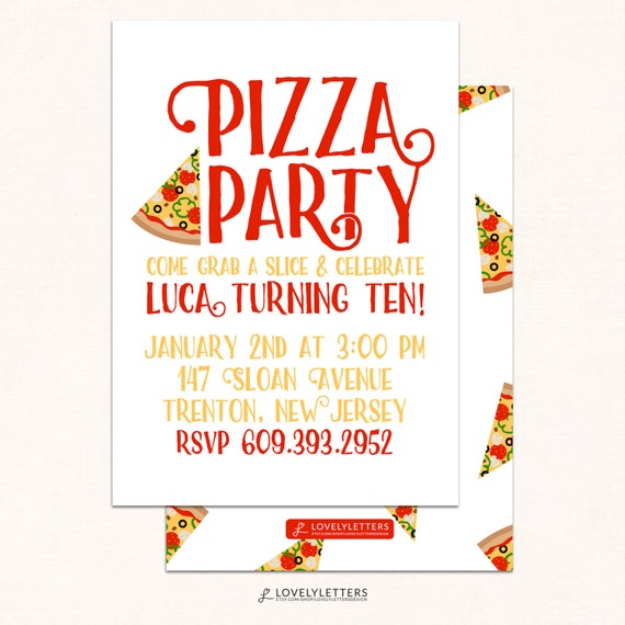 pizza party invitation pizza invitation pizza party invite
