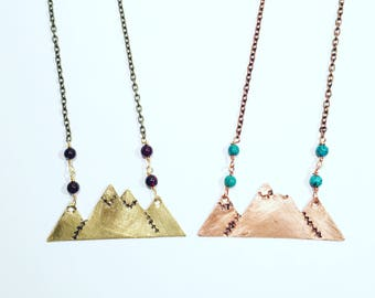 Mountains, copper, brass, turquoise, beads, mountain necklace
