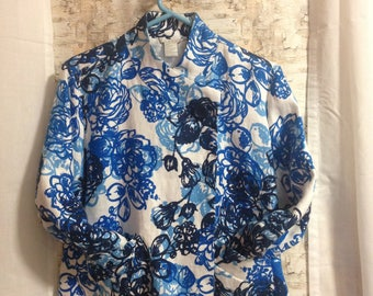 floral jacket, Tweeds jacket, spring coat, dressy jacket, feminine jacket, blue jacket