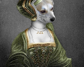 Anne Boleyn, Custom Pet Portraits, Dog or Cat Portrait, Digital personalized portrait painting, using your Pet's Photo