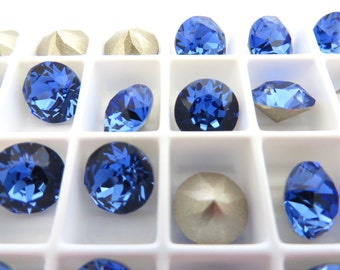 18 Sapphire Foiled Swarovski Crystal Chaton Stone 1088 39ss 8mm