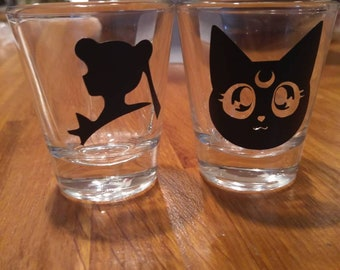 Sailor moon Luna shot glass set